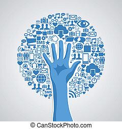 Soziale Mediennetze sind Handzeichen
