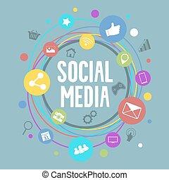 Soziales Medienvektorkonzept mit kreisfarbenfrohen Ikonen.
