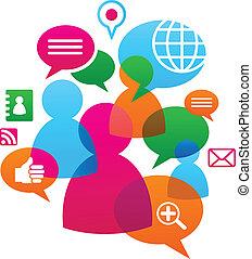 Soziales Netzwerk mit Medien-Ikonen