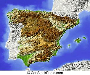 Spanien, dunkle Landkarte