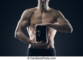 spareinlagen, sicher, schützt, muskulös, mann