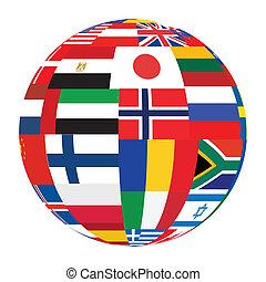 Sphäre mit Weltflaggen