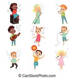 spielende , satz, mädels, wenig, musikinstrument, vektor, knaben, singende