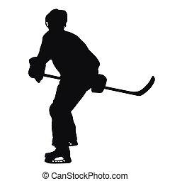 spieler, silhouette, hockey, eis