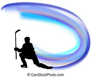 spieler, silhouette, hockey