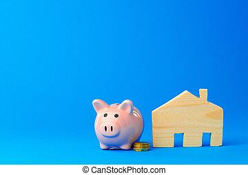 spielzeug, schweinchen, geld- bank, hölzernes haus
