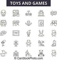 Spielzeuge und Spiele-Linien-Icons, Zeichen gesetzt, Vektor. Spielzeug und Spiele skizzieren Konzept, Illustration: Spielzeug, Spiel, Spiel, Spiel, Controller, Fun, Sammlung, Unterhaltung