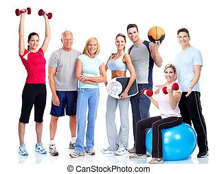 Sport und Fitness. Lächelnde Menschen.