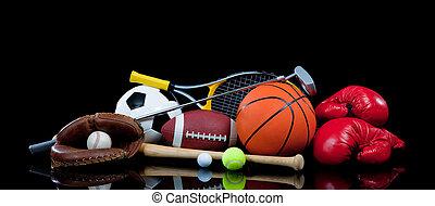 Sportausrüstung auf Schwarz