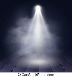 Spotlight Diskothek beleuchtet Holz-Szene Dekoration Club Theater. Vector Projektion Hintergrundbeleuchtung.