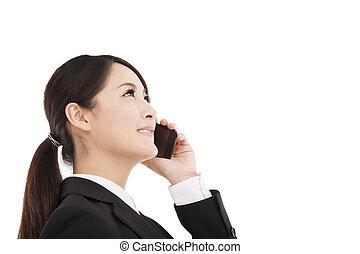 sprechende , cellphone, glücklich, geschäftsfrau