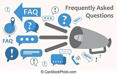 Sprecher mit vielen Ausrufezeichen. Informationsaustausch Thema Icon, sammeln und analysieren Informationen. Eine Frage. FAQ. Vector