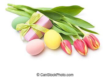 Spring Tulpen Blumen mit Geschenkbox.