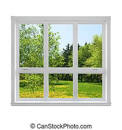 Springlandschaft durchs Fenster gesehen