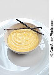 stöcke, vanille, samen, gebäck, creme, eiercreme