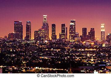 stadtzentrum, usa, angeles, los, skyline, nacht, kalifornien