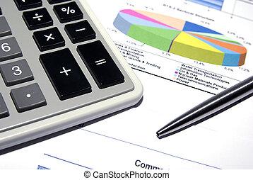 stahl, data., finanziell, taschenrechner, stift, gedruckt