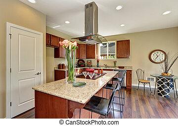 stahl, rostfrei, traditionelle , appliances., amerikanische , kennzeichnend, kueche
