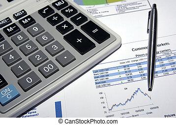 stahl, taschenrechner, analyse, report., stift, markt, bestand