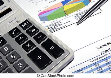stahl, taschenrechner, analyse, stift, report., gedruckt