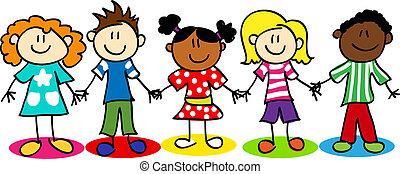 Stammfiguren-Kinder in ethnischer Vielfalt