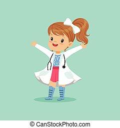 stehende , blaues, ungefähr, sie, doktor, mantel, kind, freigestellt, auf, heiter, hintergrund., spiel, stethoskop, hände, töchterchen, spielende , weißes, hals