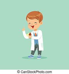 stehende , index, wenig, daumen, wohnung, mantel, junge, zeichen, auf, abbildung, baby, vektor, design, besitz, medizinprodukt, bottle., weißes, karikatur