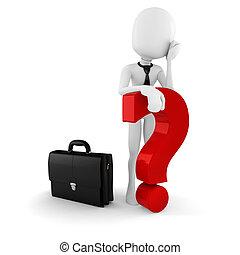 stehende , markierung, groß, frage, hintergrund, geschäftsmann, weißes, mann, rotes , 3d