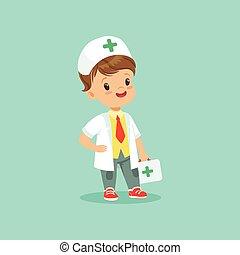 stehende , reizend, wenig, jeans, doktor, angezogene , hand., junge, zeichen, mantel, medizin, vektor, turnschuhe, abbildung, koffer, schlips, weißes hemd, hut