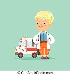 stehende , wohnung, spielzeug, ungefähr, auto, junge, mantel, medizin, hände, vektor, seine, stethoskop, taschen, krankenwagen, baby, weißes, hals