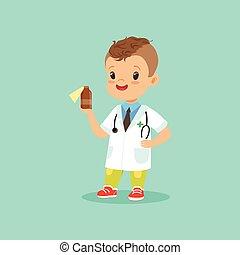 stehende , wohnung, wenig, seine, ungefähr, doktor, hand., abbildung, uniform, s, vektor, stethoskop, flasche, medizinprodukt, design, lächeln, kind, hals