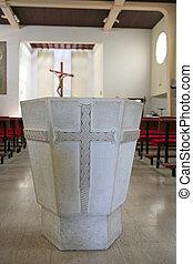 stein, baptistery, detail, kirche