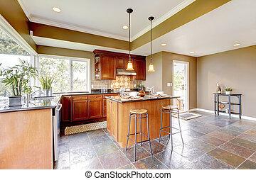 stein, floor., wände, grün, luxus, inneneinrichtung, kueche