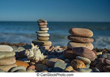 steine, ansicht, meer, pyramide