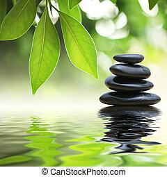 steine, wasser, pyramide, zen, oberfläche