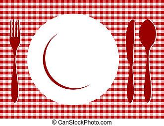 Stell dich auf rote Tischdecke