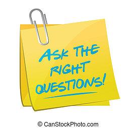 Stellen Sie die richtigen Fragen post Message Illustration.