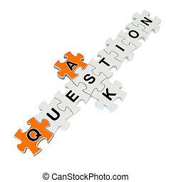 Stellen Sie Frage 3d Puzzle auf weißem Hintergrund.