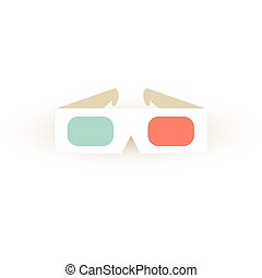 stereo, glasses., papier, vektor, sinema, icon., brille, 3d