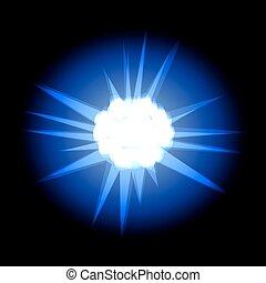 Stern mit hellblauen Strahlen, isoliert auf schwarzem Rücken.