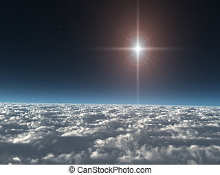stern, wolkenhimmel, oben