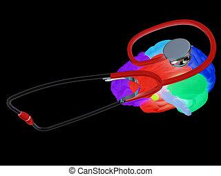 stethoskop, brain., abbildung, 3d