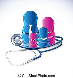 Stethoskop rund um die Familie.