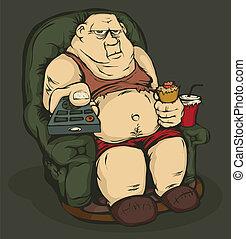 steuerung, entfernt, dicker mann