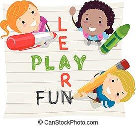 Stickman-Kids lernen Spaß zu spielen.