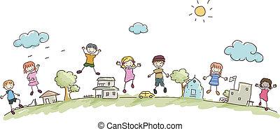 Stickman-Kinder in der Gemeinde.