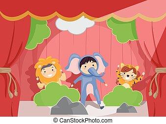Stickman-Kinder spielen Tierrolle spielen Illustration.