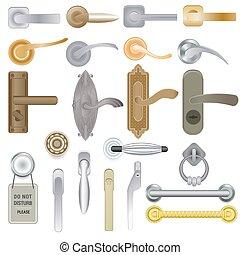stiel, eingang, satz, tür, hintergrund, door-handle, schloß, vektor, türgriff, freigestellt, abbildung, inneneinrichtung, metall, design, türen, haus, door-knob, daheim, weißes