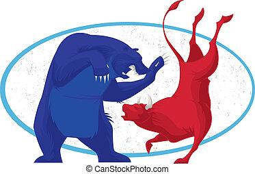 Stier und Bär - Aktienmarkt