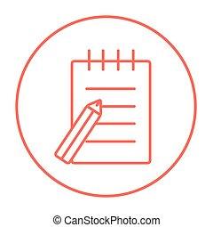 stift, polster, linie, icon., schreibende